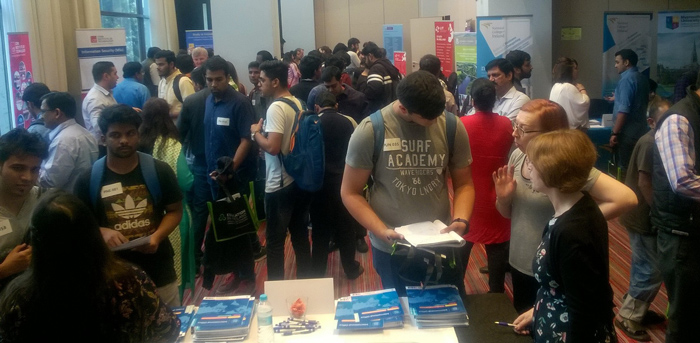 Students at Education in Ireland's university fair in Delhi in November 2017