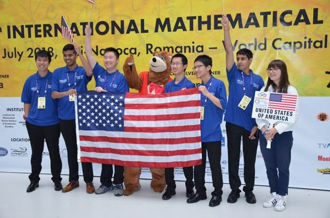 The US team which won first place at the 59th International Mathematical Olympiad which took place in Romania in July