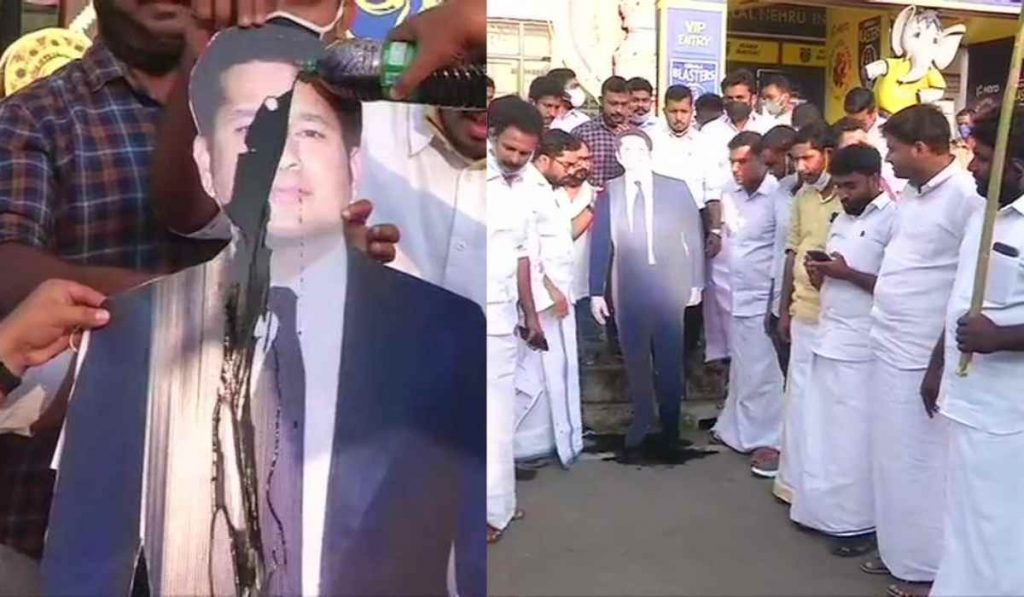 Congress leaders pour ink and oil on Sachin Tendulkar's cut-out as sign of protest in Kerala