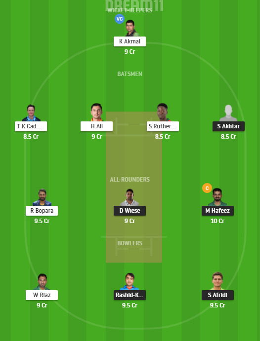 LAH vs PES Dream11 Team
