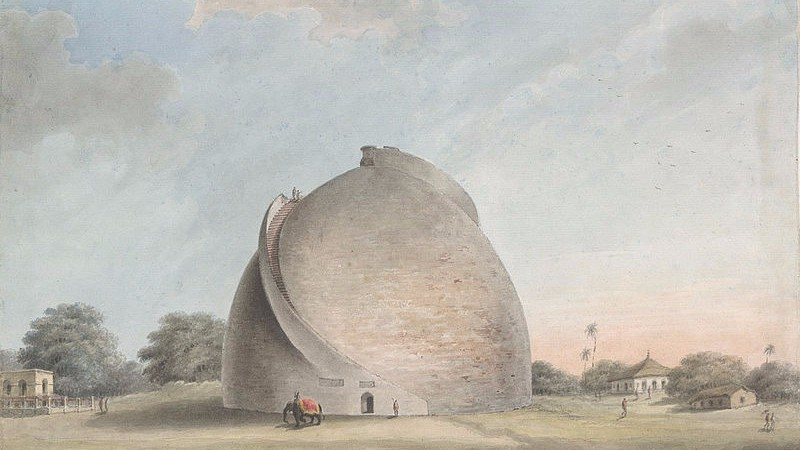 An artistic representation of the peculiarly designed Patna Golghar