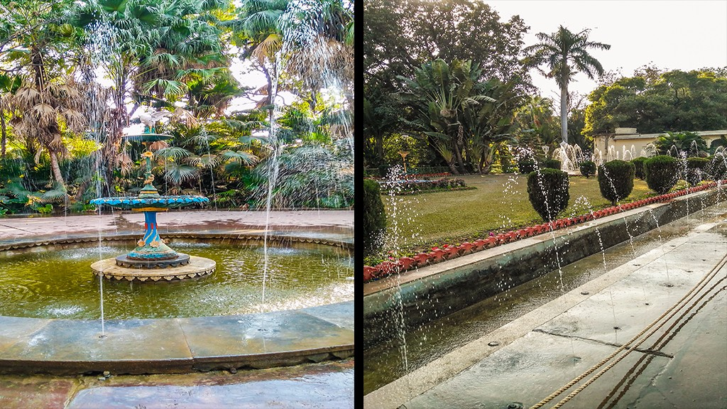 The Bin-Badal Barasat fountains (left); The row of fountains at the entrance of the bari (right)   Live History India