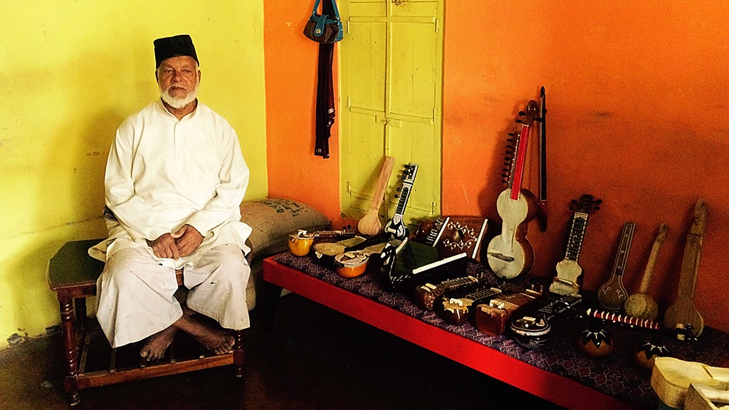 Amir Hamza with the instruments he has crafted   Ameya Marathe