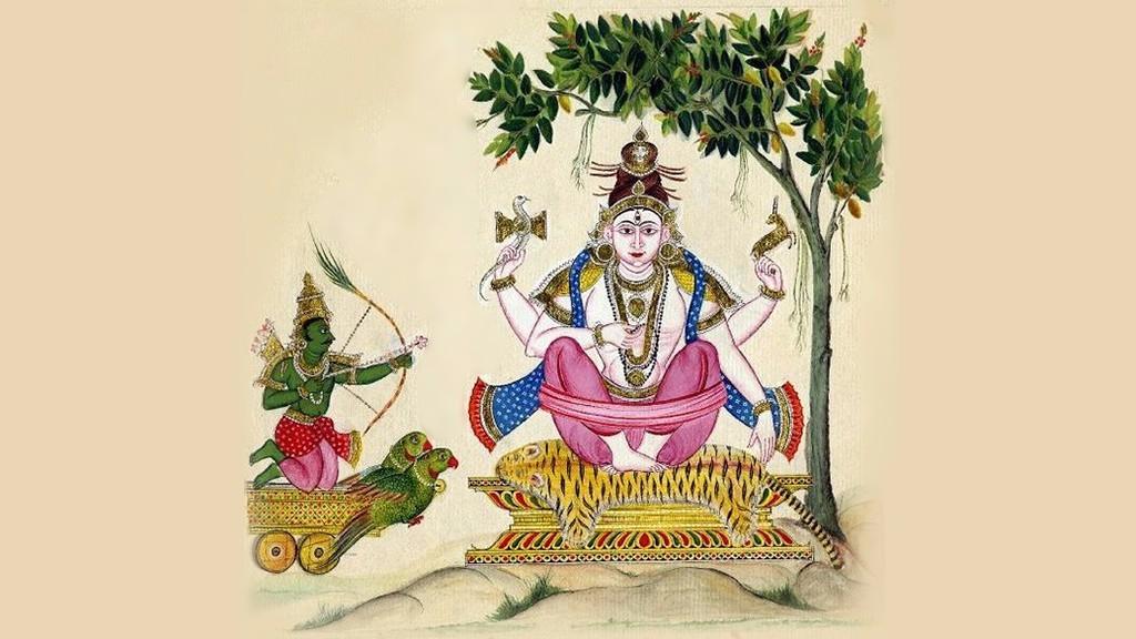 Kamadeva shooting his 'love-arrow' at Shiva