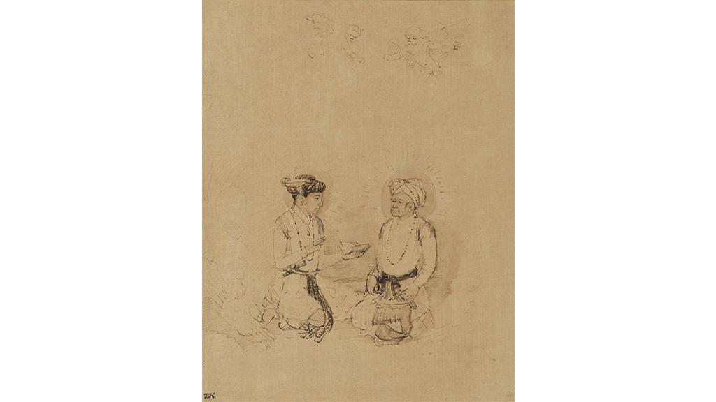 The Emperor Akbar and his Son Salim in Apotheosis by Rembrandt circa 1656