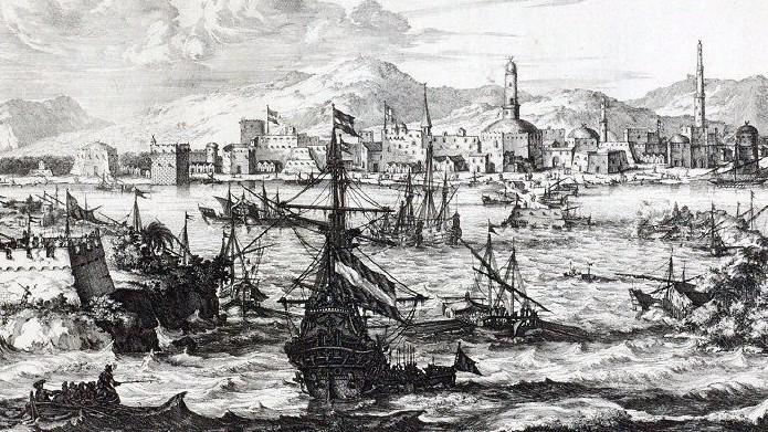 The port of Mocha, Yemen in 1680 CE
