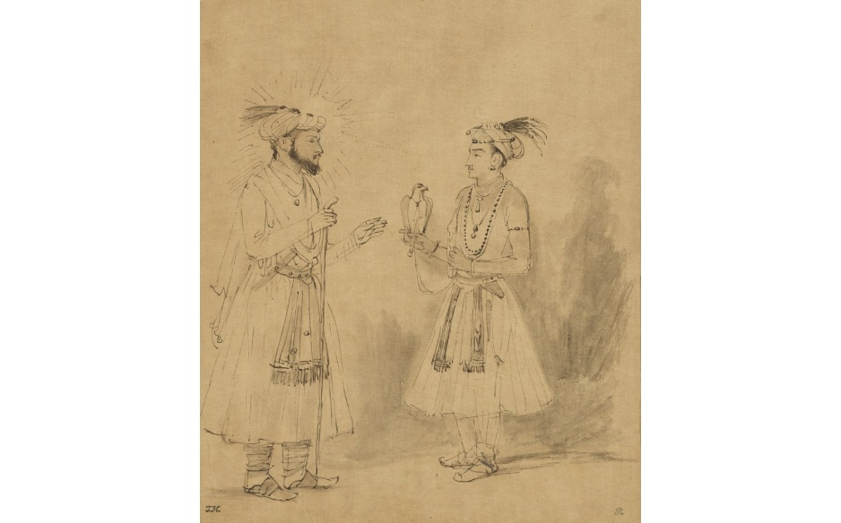 Rembrandt's sketch of Shah Jahan with his favourite son Dara Shikoh, dated around 1654-1656