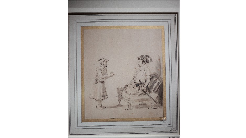 The original painting titled 'Emperor Jahangir Receiving an Officer' (1654-56) by Rembrandt- part of the 'India & the World' exhibition at CSMVS Museum in Mumbai