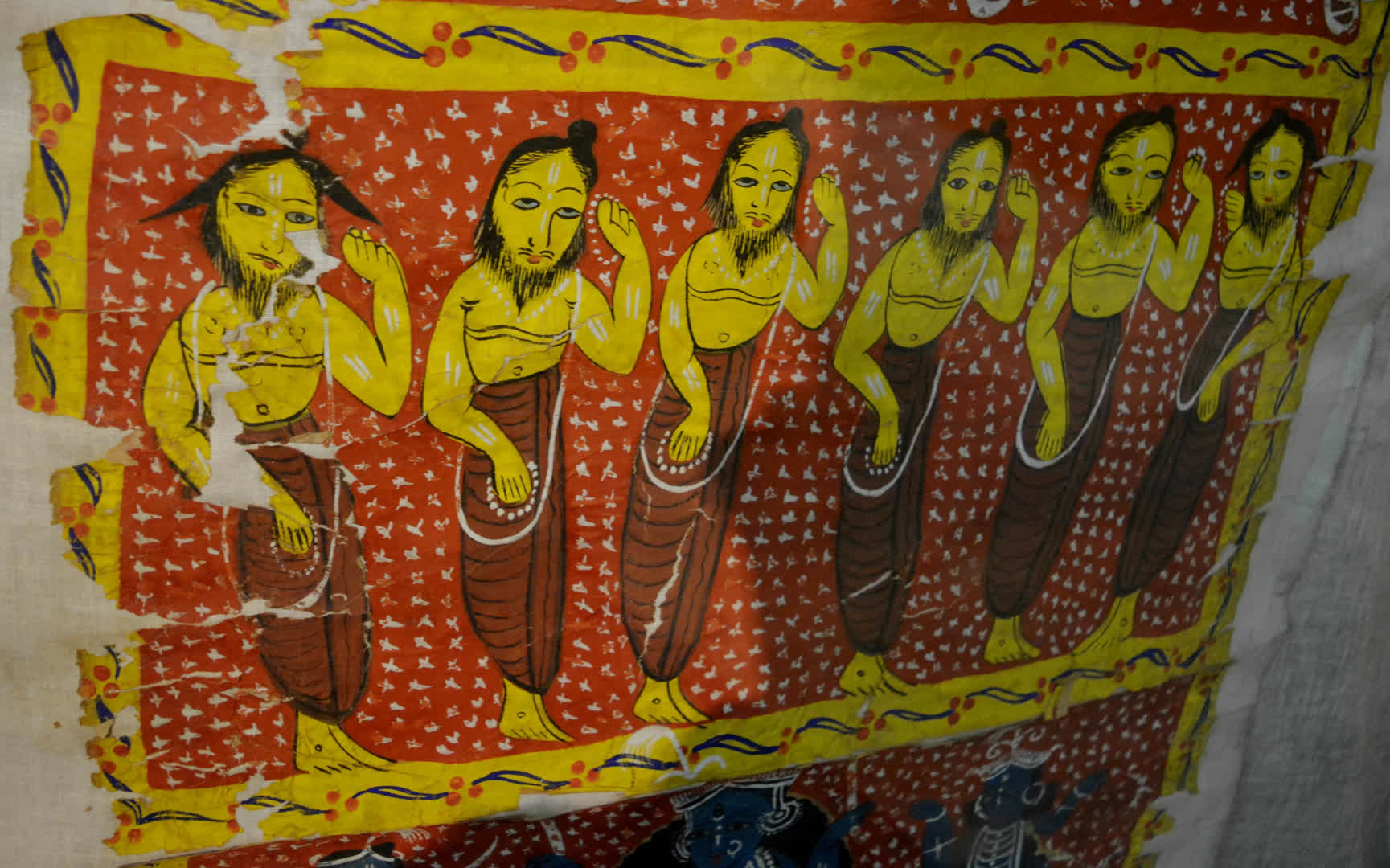 A panel from a dighol (scroll) pat based on the story of Data Karna (19th century CE, Midnapore)   Gurusaday Museum