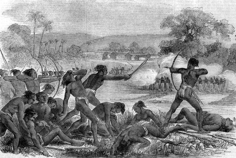 Attack by 600 Santhals upon a party of 50 sepoys, 40th regiment native infantry- Santhal Revolt