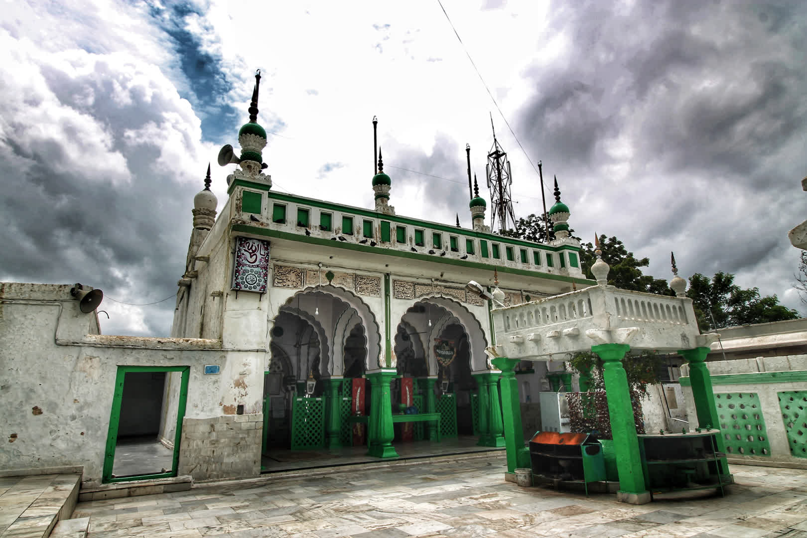 The dargah, perched on top of the hill