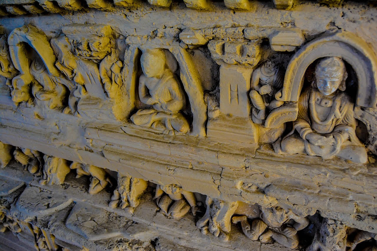 Sculptural details on a stupa at Taxila