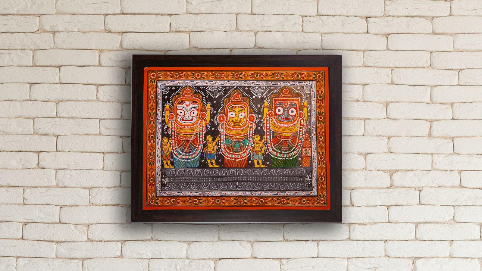 Pattachitra paintings of Lord Jagannath, Balabhadra and Subhadra   Peepul Tree