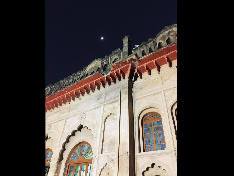 A view of the Imambara at night