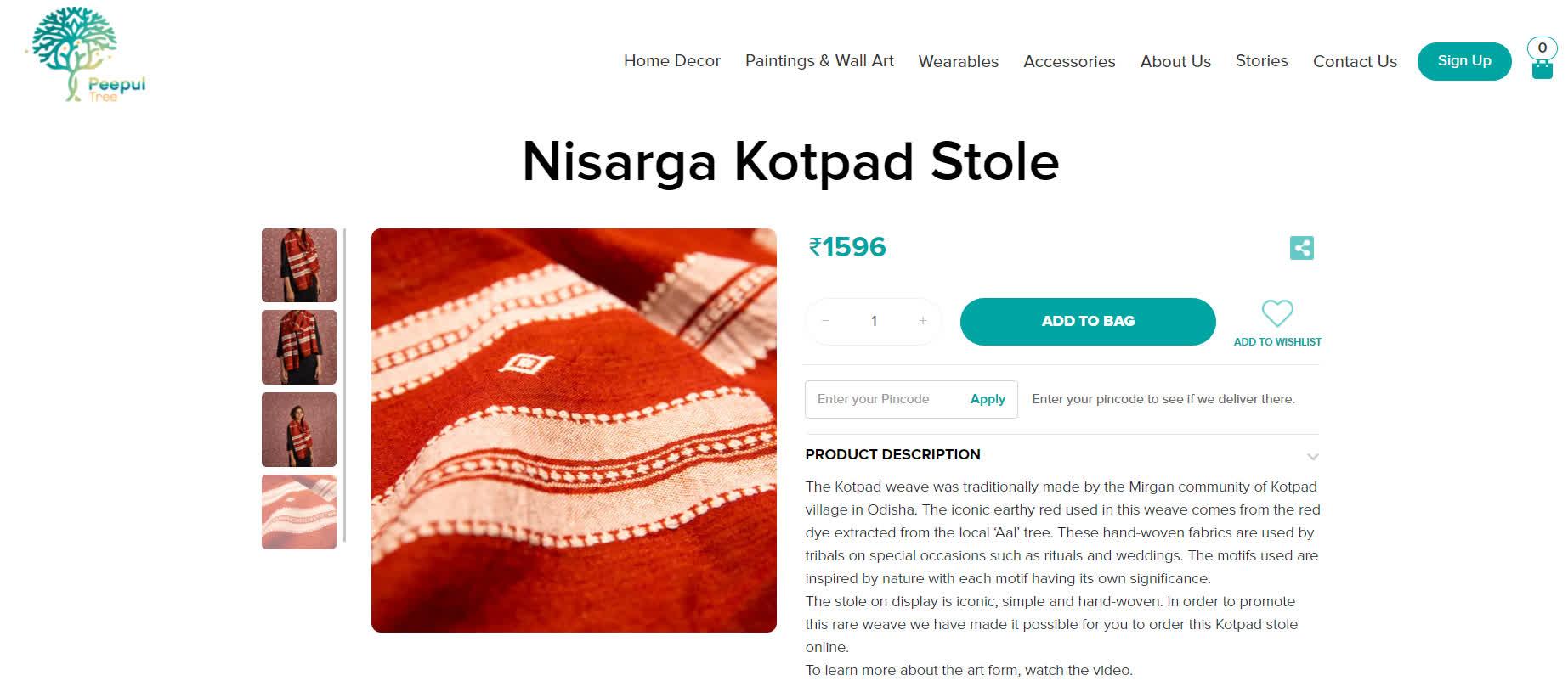 The Peepul Tree website featuring Kotpad weave | Peepul Tree