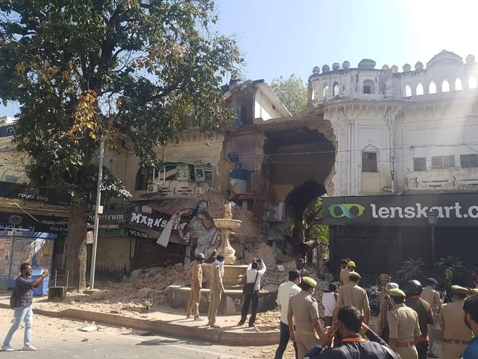 The large gate opening towards the main road to Hazratganj Market had recently fallen. | Rameen Khan