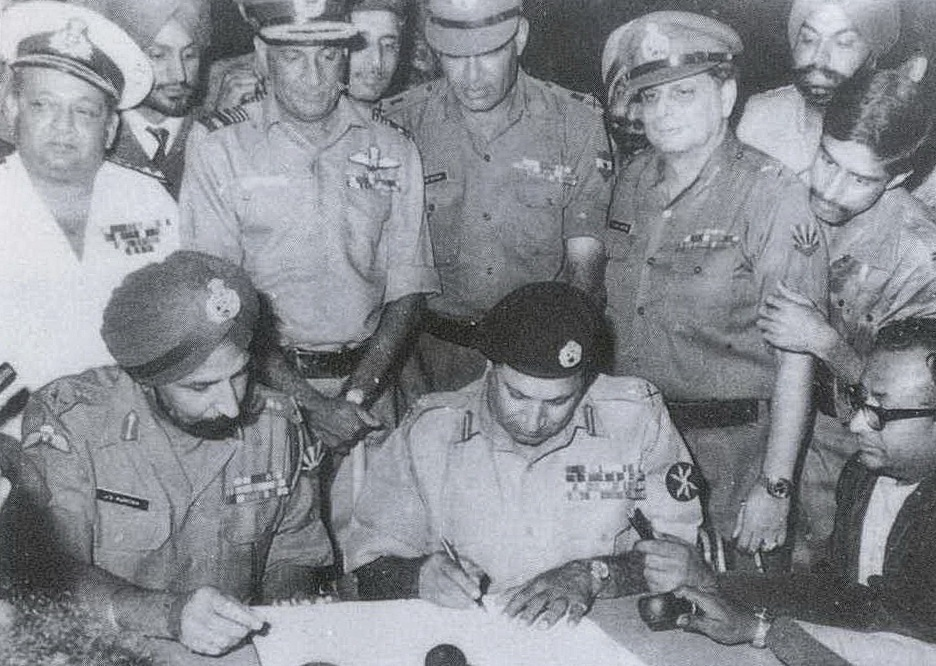Signing of Pakistani Instrument of Surrender by Pakistan's Lt Gen A A K Niazi and Jagjit Singh Aurora on behalf of Indian and Bangladesh Forces in Dhaka on 16 Dec' 1971