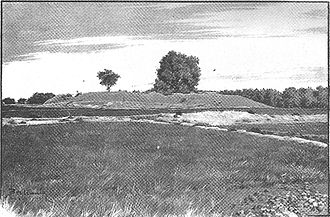 1899 engraving showing the remnants of the Kanishka Stupa in Shaji-ki-Dheri