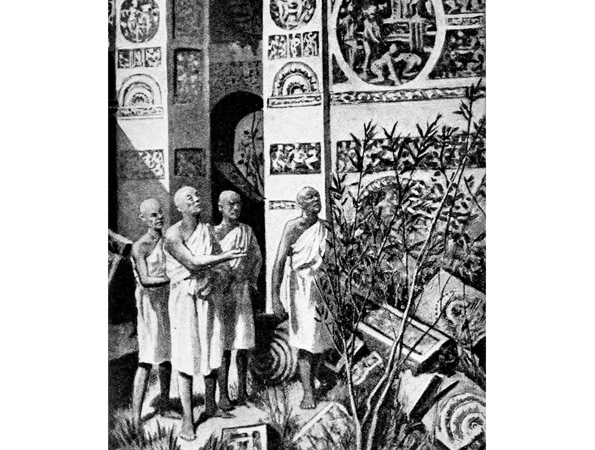 Fa Hien at the ruins of Ashoka's Palace, Pataliputra | Hutchinson's Story of the Nations