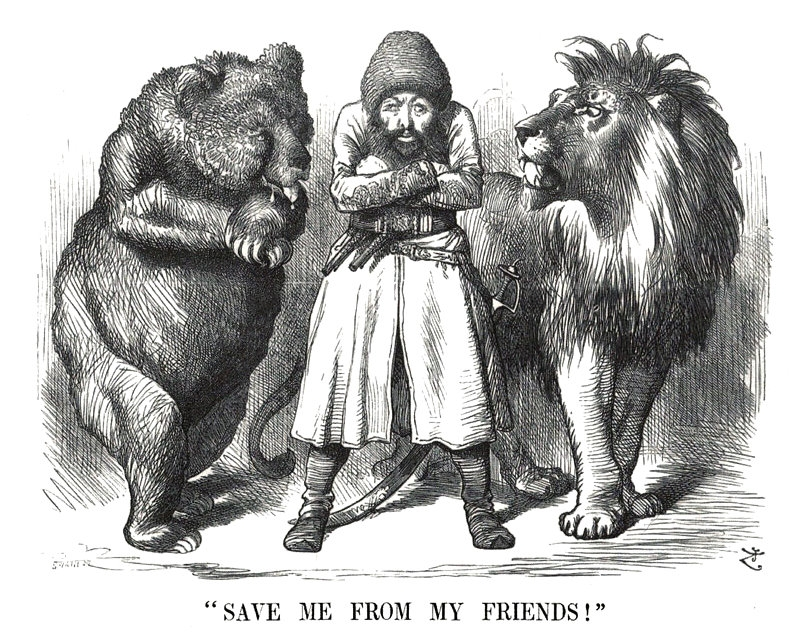 A popular 19th-century portrait of the Great Game: the Emir of Afghanistan surrounded by the Russian Bear on one side and the British Lion on the other