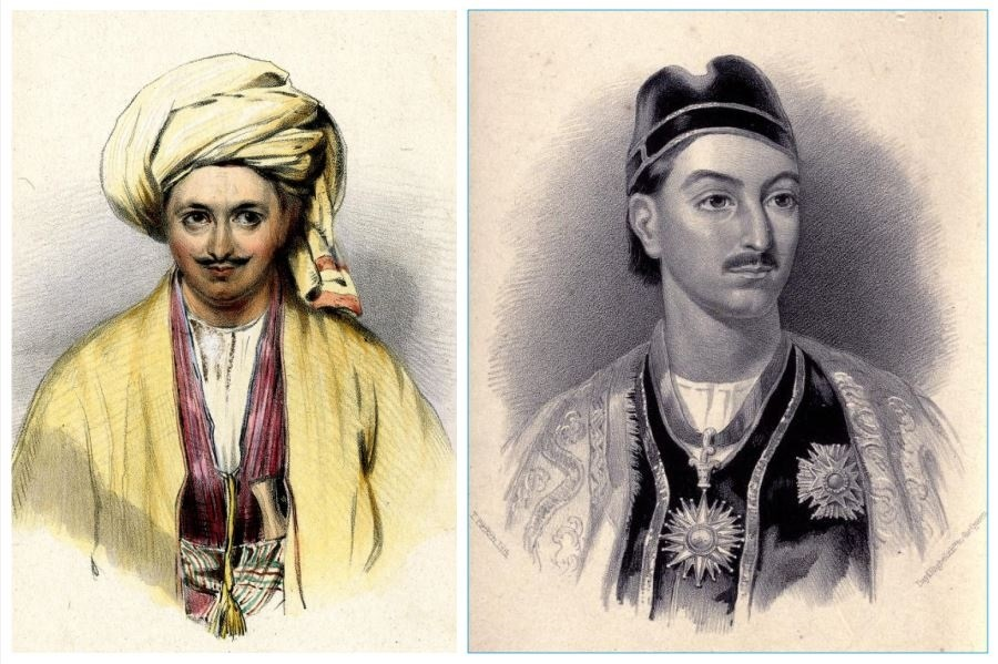 Alexander Burnes in disguise during his travels to Bukhara (left) | Gutenberg.org; Portrait of Mohan Lal Kashmiri (right)