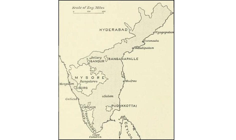 Sandur State on a map with Madras Presidency