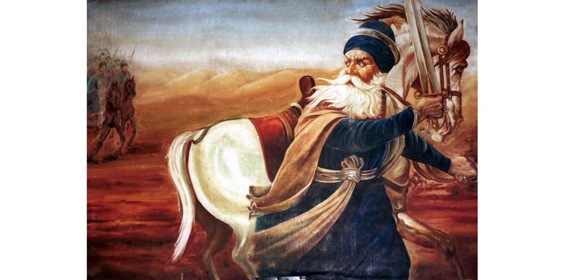 Akali Baba Deep Singh leading his troops against Afghans
