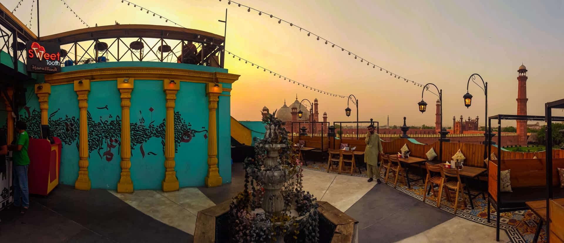 View of Badshahi Mosque from an eatery in Heera Mandi
