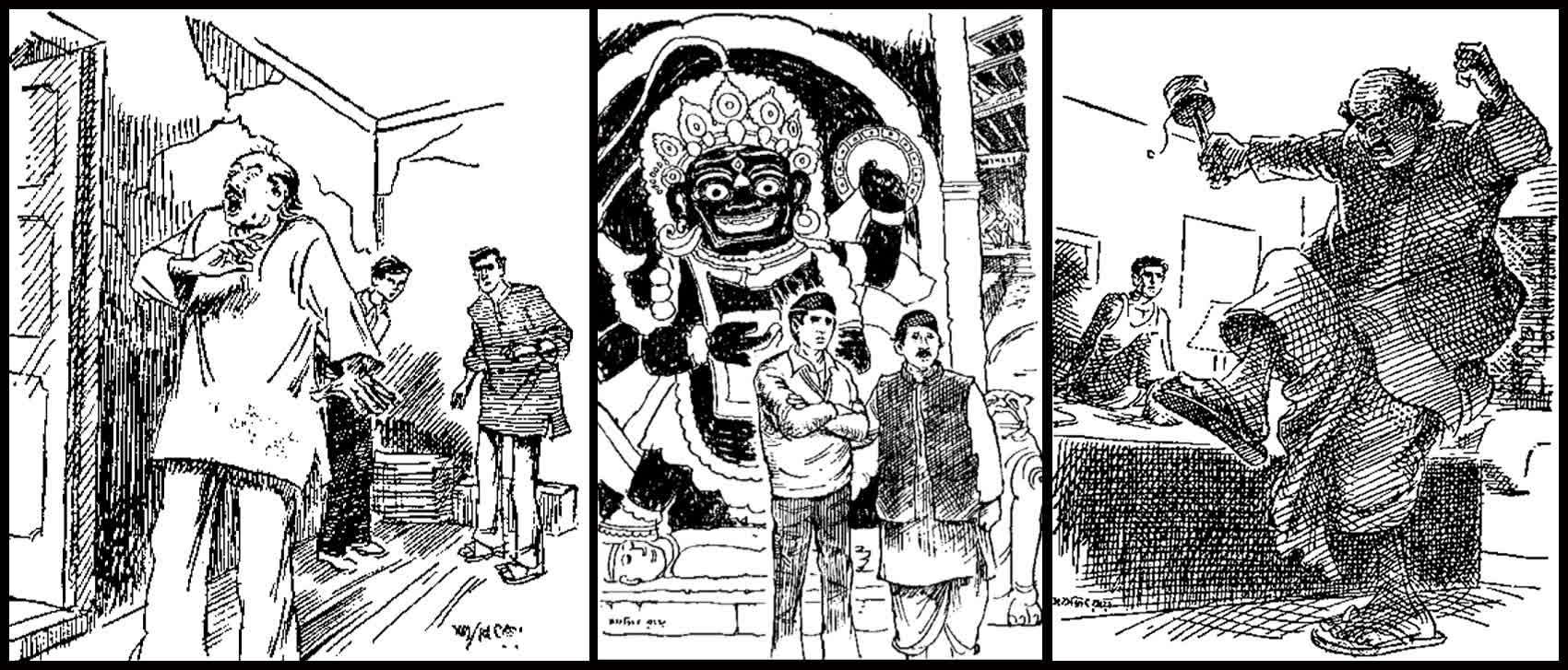 Author Lalmohan Ganguly provides much of the comic relief in the stories- Artwork by Ray