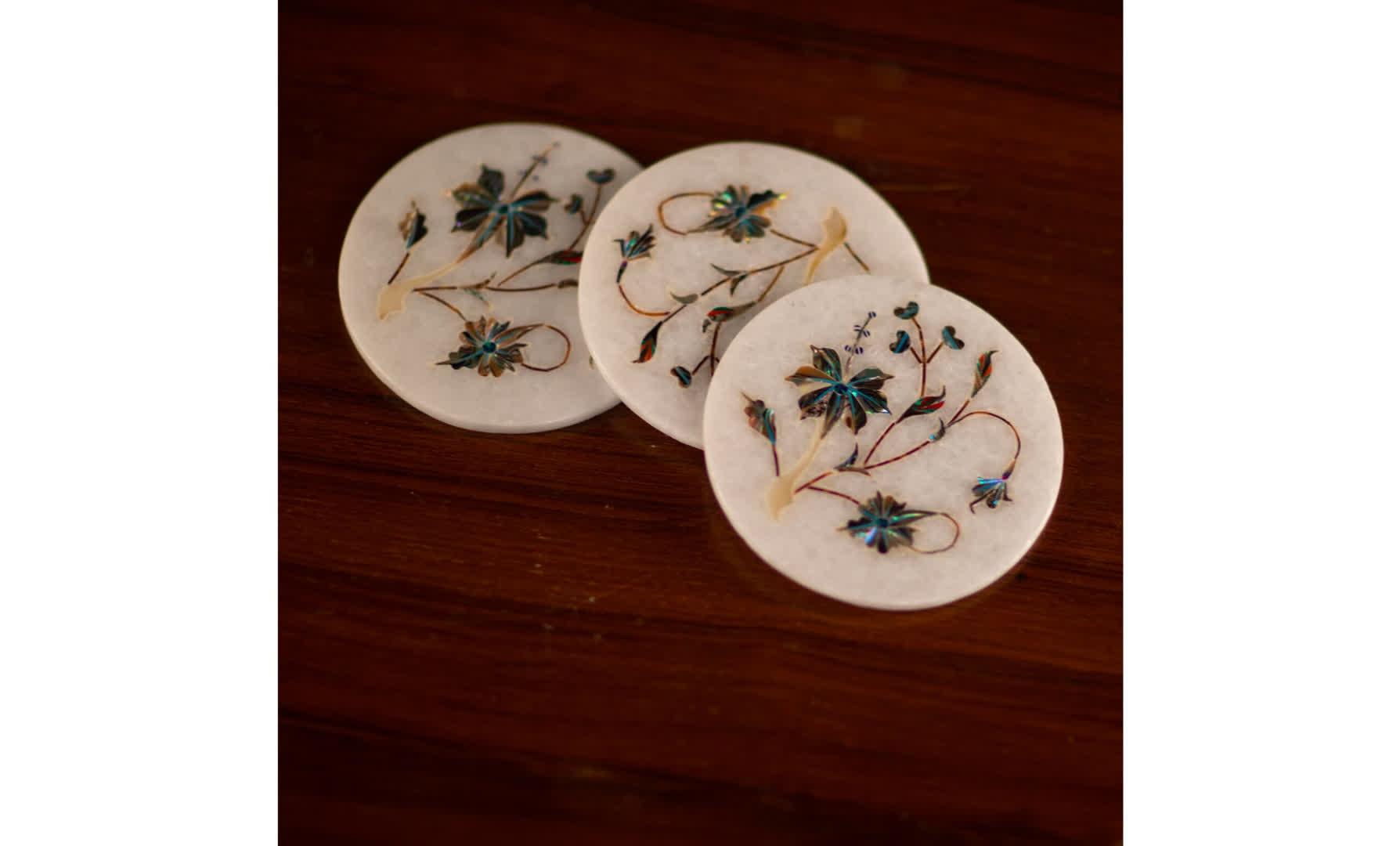 Marble Inlay Coasters   Peepul Tree