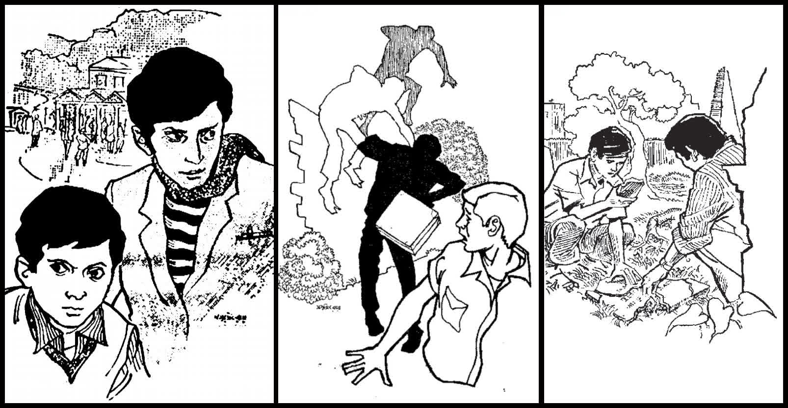 Feluda and Topshe in various stories- Artwork by Ray