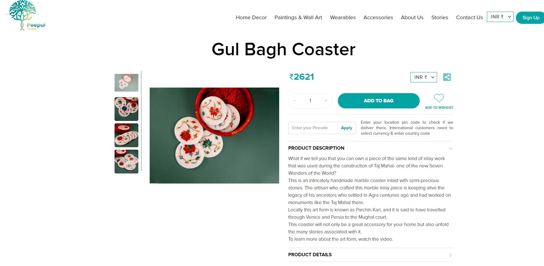 Marble Inlay Coasters from Agra at Peepul Tree