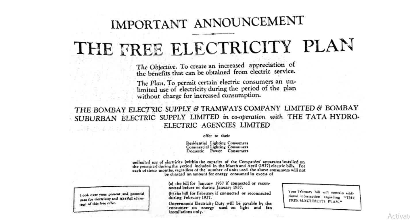 The Free Electricity Plan | The Times of India, 25 Feb. 1937
