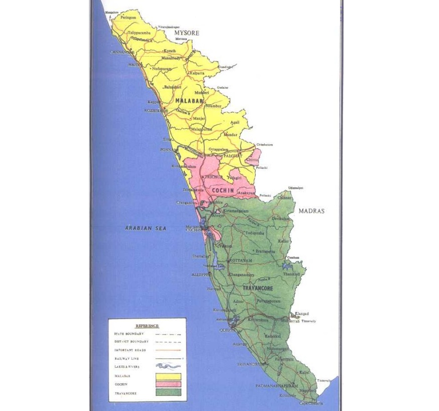 Map of Malabar, Cochin and Travancore