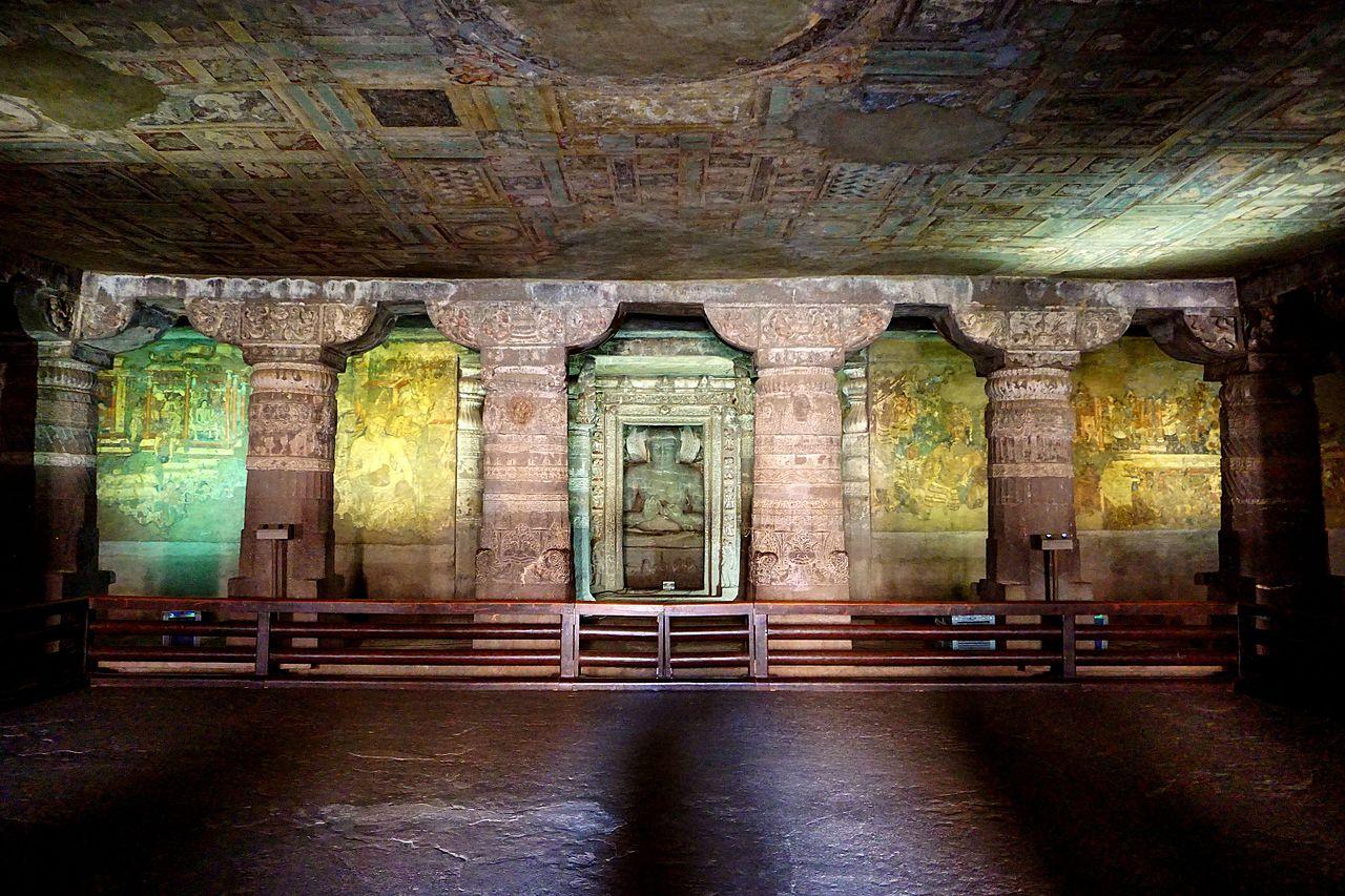 Cave No. 1 of Ajanta, built by Harisen