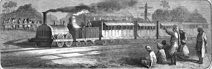 The first railway train on the East Indian Railway