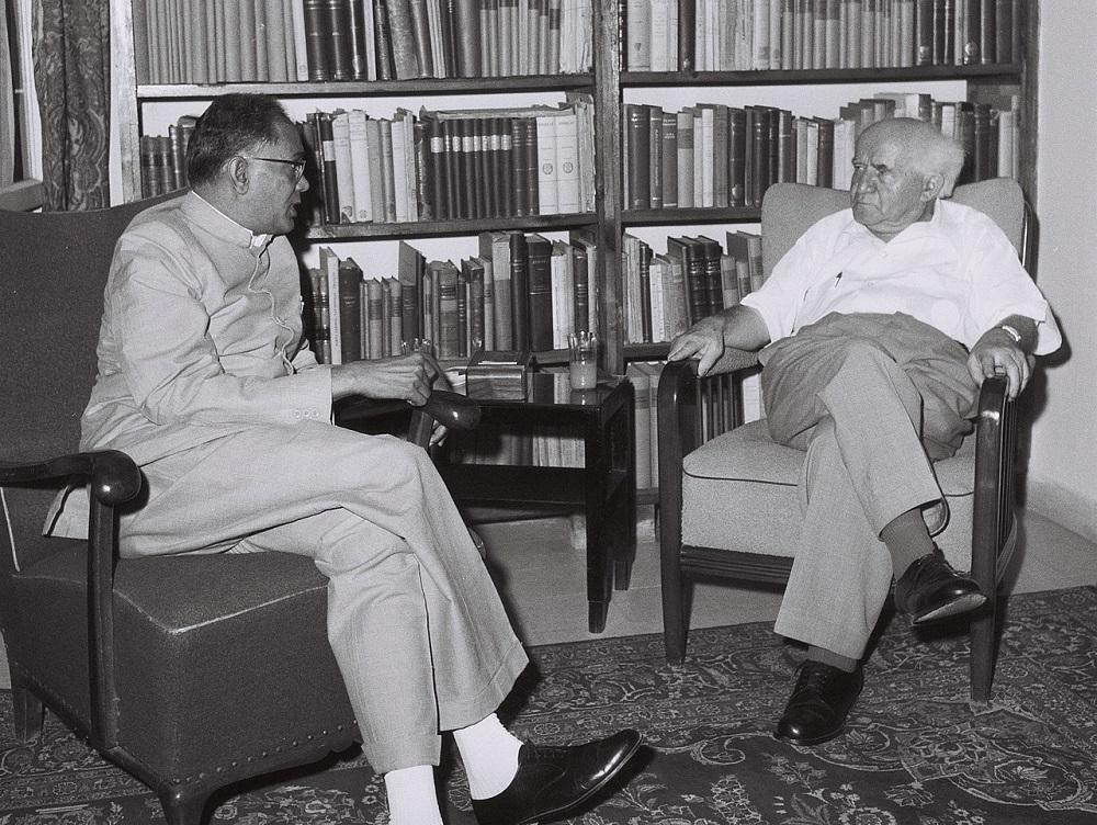 JP Narayan with Israeli Prime Minister David Ben-Gurion in Tel Aviv