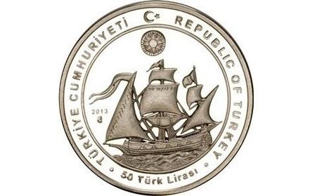 The flagship of Seydi Ali Reis on a 50 lira coin