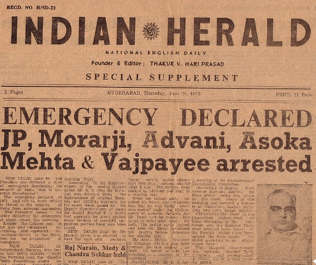 Front page of Indian Herald announcing the imposition of the Emergency on June 26, 1975
