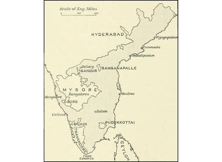 Map of the Madras Presidency, 1913