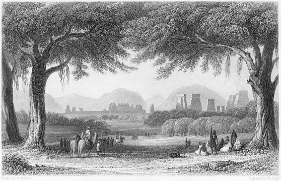 A Wood engraving showing the city of Madurai (1858)