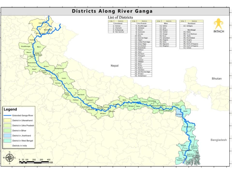 Districts along river Ganga   Manu Bhatnagar via Natural Heritage Division, INTACH