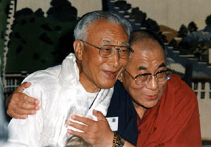 Norbu with his brother, the 14th Dalai Lama