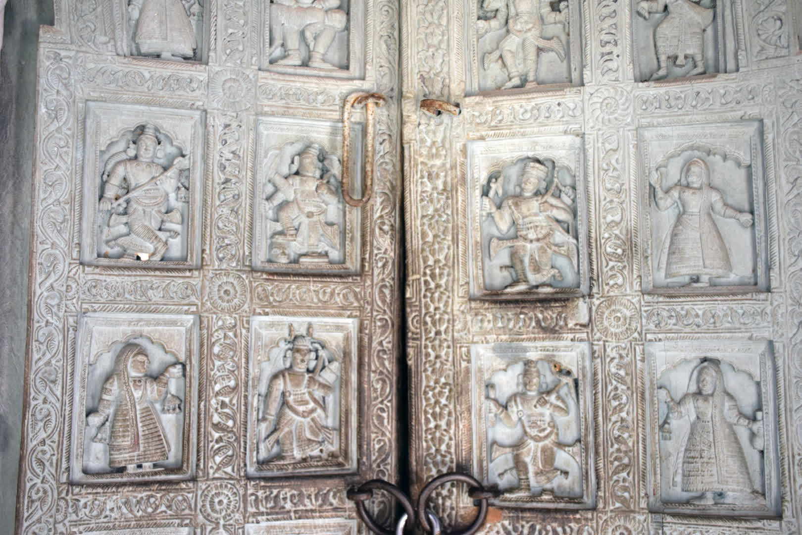 Woodwork on door of Govinda Jiu temple. Medinipur district showcases exquisite woodwork in many of their temples   Narajole Rajbari