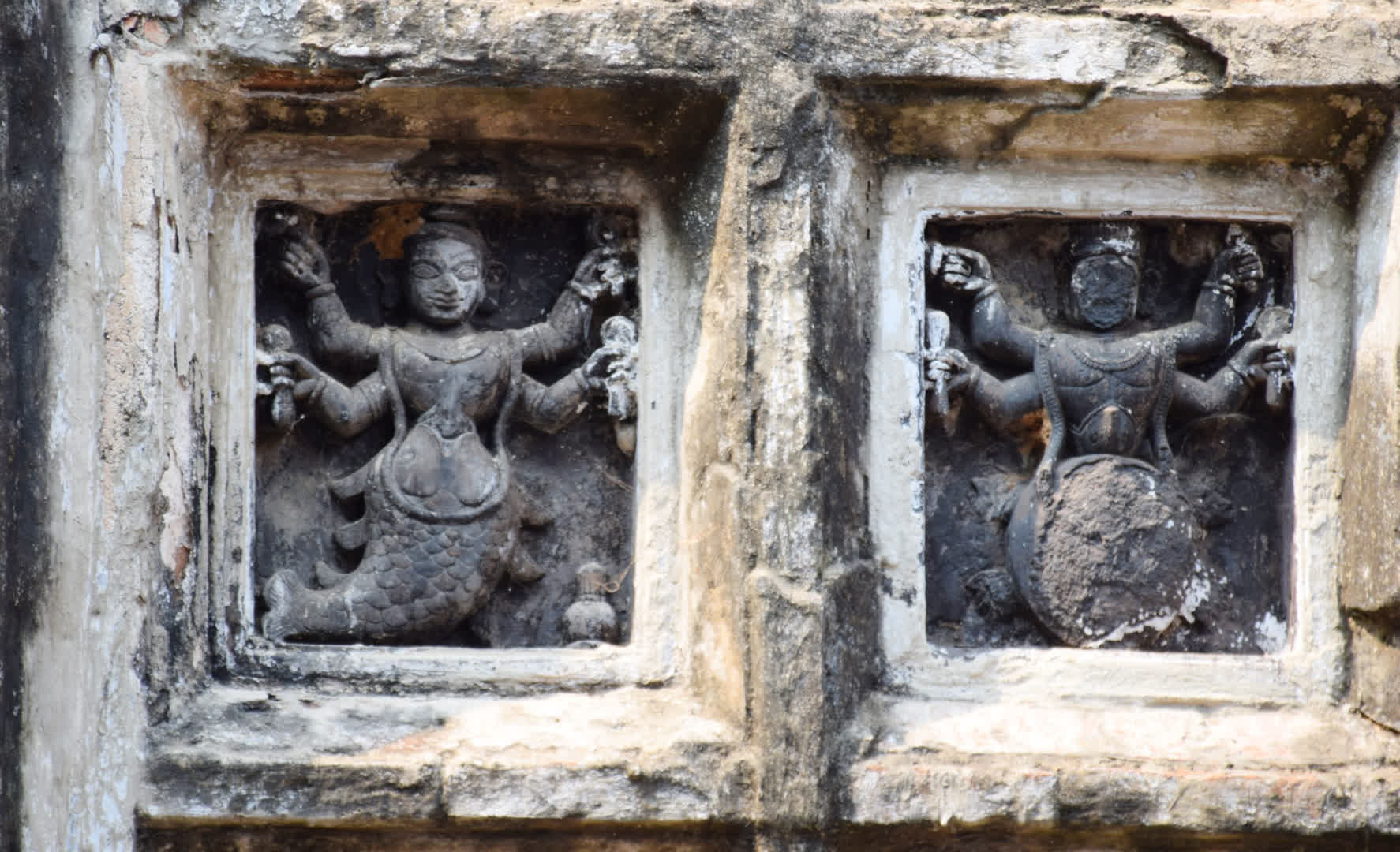 The Dasavatar motifs on the wall of are carved in black basalt stone instead of terracotta   Narajole Rajbari