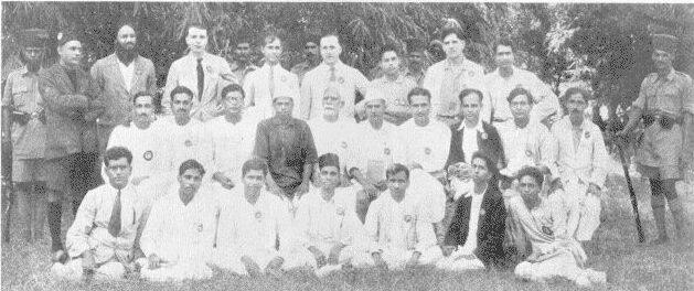 Portrait of 25 of the Meerut Prisoners taken outside the jail