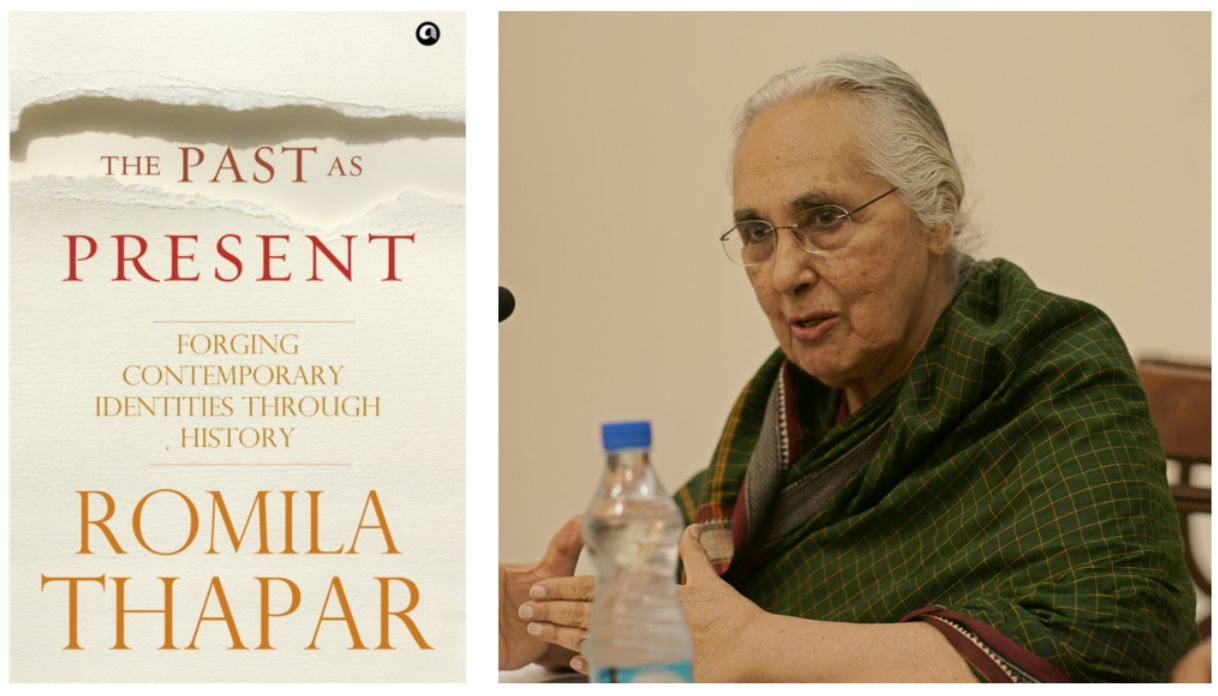 The book cover and author Romila Thapar
