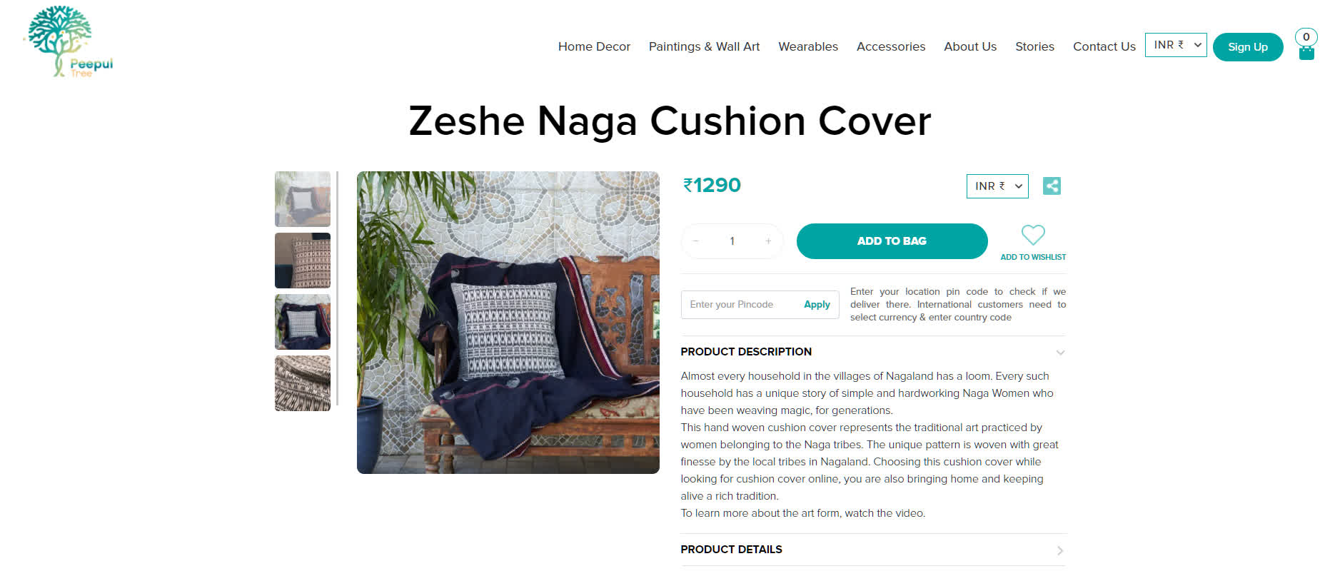 Traditional Naga Cushions at Peepul Tree