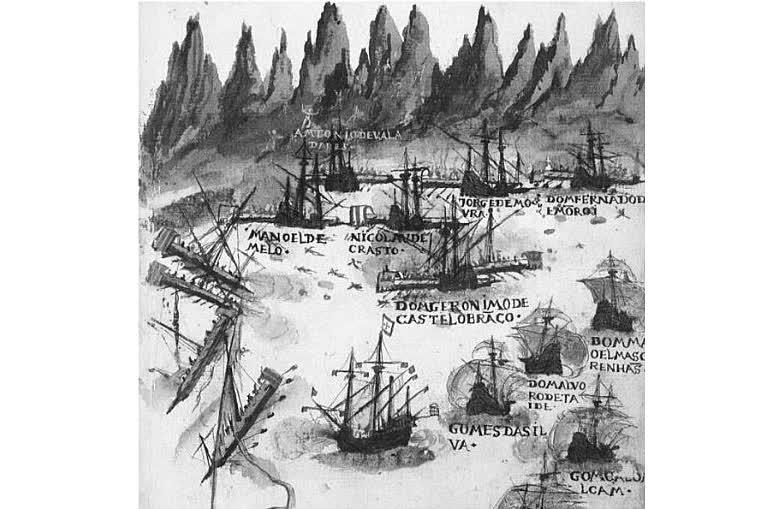 Portuguese ambush against the galleys of Seydi Ali Reis as depicted in the book Livro de Lisuarte de Abreu