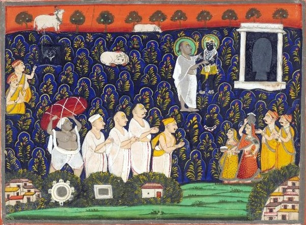 Vallabhacharya with the image of Shrinathji